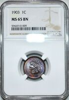 NGC MS 65 BN 1903 INDIAN HEAD CENT ATTRACTIVELY TONED SPECIM