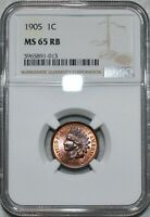 NGC MS 65 RB 1905 INDIAN HEAD CENT BLAZING RED BROWN GEM.