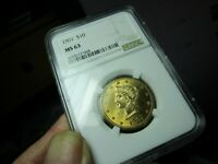 GOLD  1901 LIBERTY HEAD EAGLE  NGC  MS 63  BRIGHT & CLEAN