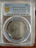 1824 OVER VARIOUS DATES CAPPED BUST HALF DOLLAR   PCGS GENUI