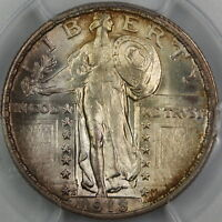 1918-S STANDING LIBERTY QUARTER, PCGS MINT STATE 64 FH FULL HEAD GEM COIN TONED