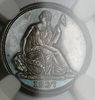 1837 SEATED LIBERTY SILVER HALF DIME NGC MS 62 CHOICE BU PROOFLIKE PL