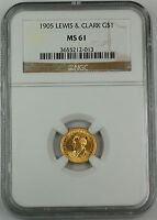 1905 LEWIS & CLARK COMMEMORATIVE $1 GOLD COIN, NGC MINT STATE 61