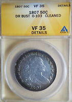 1807 DRAPED BUST HALF DOLLAR ANACS VF-35 O-103 REPUNCHED DATE EARLY 50C ERROR