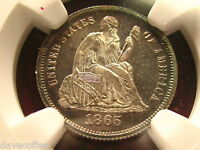 1865 SEATED LIBERTY DIME NGC PF 66 CAMEO OUTSTANDING TO VIEW AND