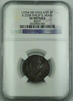 1554 58  ENGLAND SILVER GROAT 4P COIN S 2508 PHILIP & MARY NGC VF DET. BENT AKR