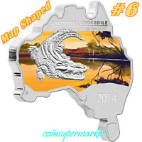 2014 AUSTRALIA MAP SHAPED SERIES SALTWATER CROCODILE 1OZ SILVER COIN COA & BOX