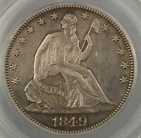 1849 SEATED LIBERTY SILVER HALF REPUNCHED DATE  PCGS GENUINE WB 102 EF AS