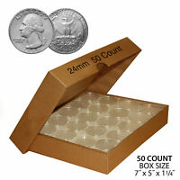 50 QUARTER DIRECT FIT AIRTIGHT 24MM COIN CAPSULE HOLDER QUARTERS QTY: 50 W/ BOX