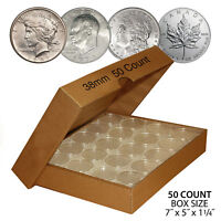 50 MORGAN DOLLAR DIRECT FIT AIRTIGHT 38MM COIN CAPSULE HOLDER  QTY: 50  WITH BOX