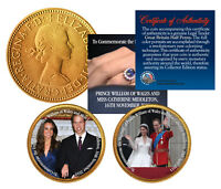 ROYAL WEDDING   PRINCE WILLIAM & KATE   BRITISH HALF PENNY 24K GOLD 2 COIN SET