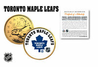 TORONTO MAPLE LEAFS NHL HOCKEY 24K GOLD PLATED CANADIAN QUARTER COIN  LICENSED