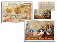 1976 BICENTENNIAL COIN COLLECTION COLORIZED US 3 COIN SET 24K PLATED QTR IKE JFK