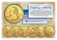2009 DC US TERRITORIES QUARTERS 24K GOLD PLATED 6 COIN SET STATEHOOD W/CAPSULES