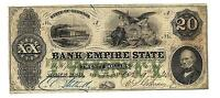 1860 $20 THE BANK OF THE EMPIRE STATE   ROME GEORGIA 20 DOLLAR NOTE