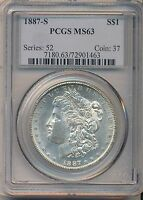1887-S $1 SILVER DOLLAR MORGAN PCGS MINT STATE 63 MINT STATE 63 COIN FREE S&H