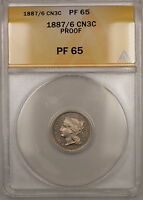 1887/6 OVERDATE THREE CENTS 3C NICKEL COIN ANACS PF 65 GEM PROOF