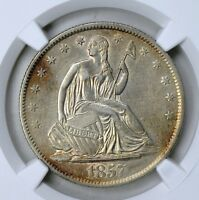 1857 O LIBERTY SEATED HALF DOLLAR NGC AU DETAILS LIGHTLY CLEANED