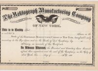 THE HEKTOGRAPH MANUFACTURING COMPANY.1880'S UNISSUED STOCK CERTIFICATE