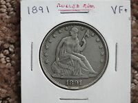 BETTER DATE 1891 SEATED LIBERTY HALF DOLLAR VF DETAILS CLEARANCE