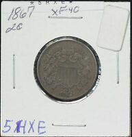 1867 TWO CENT EXTRA FINE