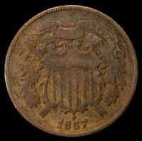 1867 ORIGINAL 2 TWO CENT PIECE US TYPE COIN  COIN D 1330