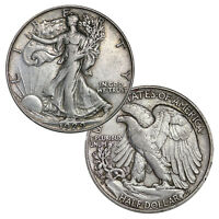 90  SILVER WALKING LIBERTY HALF DOLLARS AVERAGE CIRCULATED