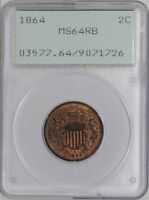 1864 TWO CENT 2C MINT STATE 64 RB OLD HOLDER - RATTLER PCGS