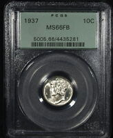 1937  US SILVER MERCURY DIME PCGS 66 FB  OGH BETTER DATE