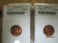 TWO LINCOLN CENTS 1959 ANACS MS 64 RD & 1959 D ANACS MS 65 RD