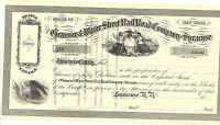 THE GENESEE & WATER STREET RAIL ROAD COMPANY OF SYRACUSE1800'S UNISSUED CERT.