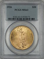 1926 $20 DOLLAR ST. GAUDENS DOUBLE EAGLE GOLD COIN PCGS MS 63 AMT
