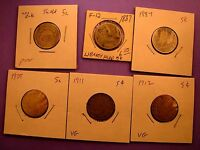 LIBERTY V NICKELS 1887 1887 1905 1911 1912 AND A SHIELD 5C NO DATE