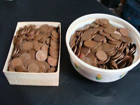 HUGE 8 POUNDS OF WHEAT PENNIES- PENNY LOT- 1930'S, 1940'S & 1950'S-FREE SHIP