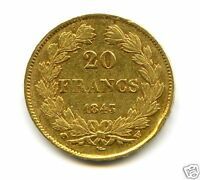 LOUIS PHILIPPE I 1830 1848 20 FRANCS OR GOLD 1843 W LILLE