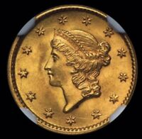 1853 $1  GOLD LIBERTY HEAD COIN CERTIFIED SECURE NGC AU 58