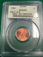 1984  DOUBLE DIE  LINCOLN MEMORIAL 1C PCGS MS66RD GREEN LABEL MS 66 RED COIN