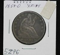 1854 O SEATED HALF XF