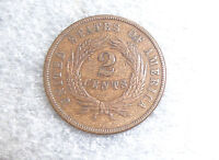 US COPPER 2C COIN 1870 EXTRA FINE  DOUBLING OF LETTERS