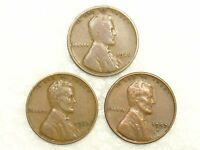 1927 1937 1957D LINCOLN WHEAT CENTS   LOT OF 3   CIRCULATED