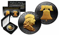 1963 BLACK RUTHENIUM BEN FRANKLIN HALF DOLLAR COIN W/ 24K GOLD FEATURES 2 SIDED
