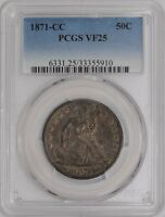 1871 CC SEATED LIBERTY HALF 50C VF25 PCGS