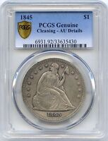 1845 SEATED LIBERTY DOLLAR SILVER PCGS AU DETAILS