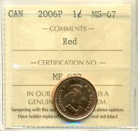 CANADA 2006P ONE CENT ICCS CERTIFIED MS 67 MAGNETIC; RED