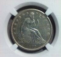 1870 S SEATED LIBERTY SILVER HALF DOLLAR    NGC XF 45 STUNNING CLOSER TO AU