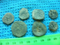 LOT OF 7 SPANISH COB  COINS FROM1600S,PIRATE DAYS ETC.