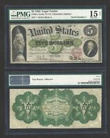 SERIAL 1 / 1862 $5.00 THE UNITED STATES FIRST LEGAL TENDER PMG VF 15  AMAZING