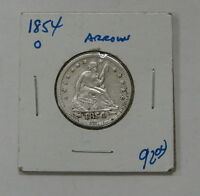 1854 O   SEATED LIBERTY SILVER QUARTER  W/ ARROWS