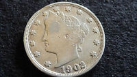 1902-P LIBERTY NICKEL IN  FINE CONDITION E-26-16