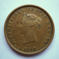 VICTORIA 1843 NEW BRUNSWICK PENNY TOKEN NICE EXAMPLE GOOD COLOUR AND PATINA